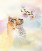 Fluffy red cat and flowers. Digital illustration.