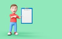 Kid 3D Cartoon Character Pointing a Blank Paper on Green with Copy Space