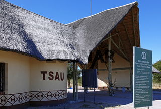 Tsau Entrance Gate, Central Kalahari Game Reserve. Botswana, Botsuana