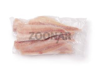 Frozen pollock fillet in airtight clear plastic bag