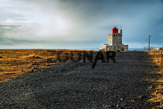 Dyrholaey lighthouse at sunset, Iceland