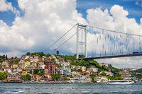 Fatih Sultan Mehmet Bridge on Bosphorus Strait in Istanbul