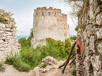 Devicky or Divci Hrady castle. Ruin of limestone gothic castle