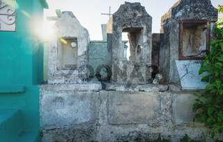 Abadoned tombstones at the cemetery 'Cementerio General' in Merida, Mexico