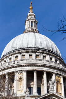 LONDON/UK - MARCH 21 : Close up View of St Pauls Cathedral in London on March 21, 2018