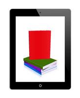 Tablet PC mit Buchstapel