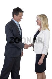 Business Mann und Geschäftsfrau schütteln die Hände