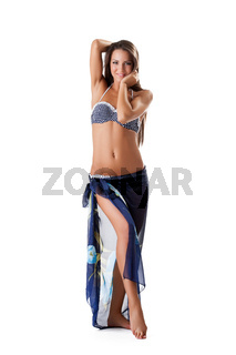 Beautiful slim girl posing in swimsuit and sarongs