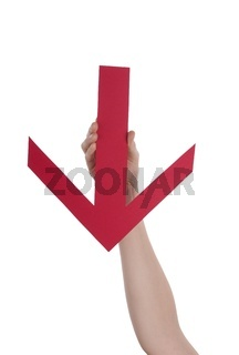 A Hand Holds a Red Downstreaming Arrow