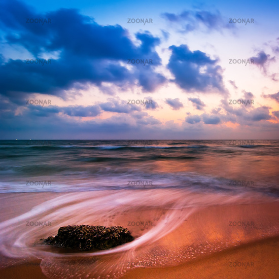 Sunset at tropical beach landscape. South India