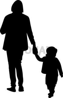 Black silhouette of a mother leading her daughter by the hand