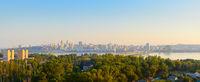 Panorama Dnipro city sunset. Ukraine