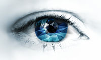 Eye close-up with polygonal triangles inside