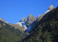 Beautiful shaped mountain Plattenberg seen from Innerthal, Schwyz.