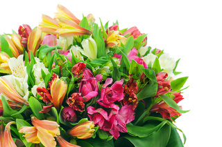 Fragment of colorful flower bouquet arrangement centerpiece isolated on white background