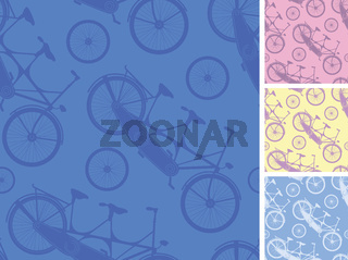 Set of frour tandem bicycles seamless patterns backgprunds