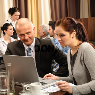 Business discussion executive woman look laptop