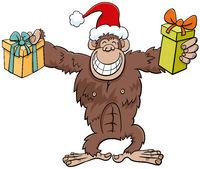 cartoon chimpanzee animal character with gift on Christmas time