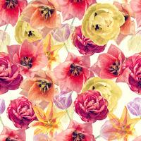 Watercolor digital painting of tulip flowers. Digital illustration.Seamless background