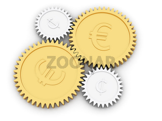 Golden euro and cent gears on white background. High resolution 3D image rendered with soft shadows