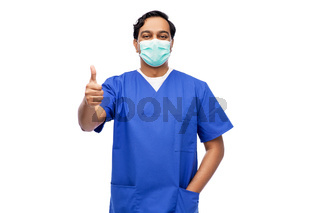 indian male doctor in mask showing thumbs up