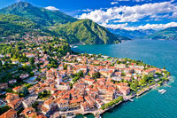 Como Lake and town of Menaggio waterfront aerial view