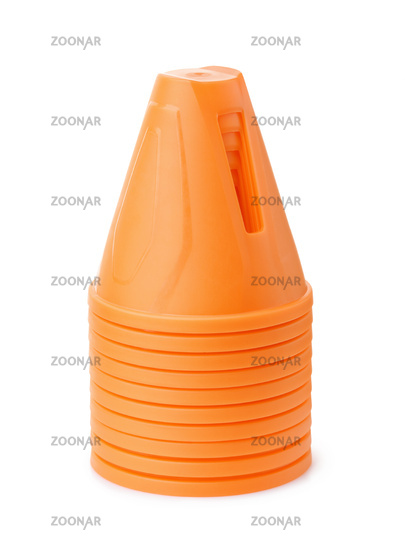 Stack of orange plastic safety traffic cone