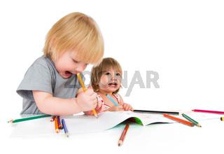 Children draws pencil