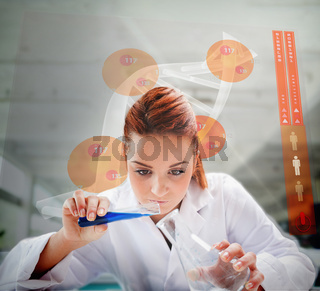Scientist pouring liquid into erlenmeyer with futuristic screen showing DNA