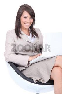 Young woman waiting for an interview