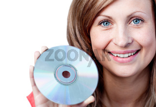 Cute woman holding a cd-rom against a white background