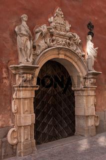 door in historical tower in Stockholm, Sweden