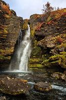 Gluggafoss waterfall in summer season, Iceland