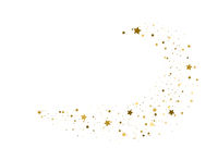 Gold flying stars confetti. Vector