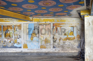 Buddhistische Wandmalerei zur religiösen Unterweisung, Tempel Wewurukannala Vihara, Dikwella, Sri Lanka, Asien