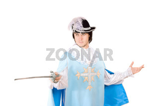 Portrait of young man with a sword