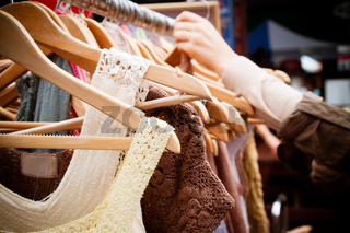 Rack of dresses at market