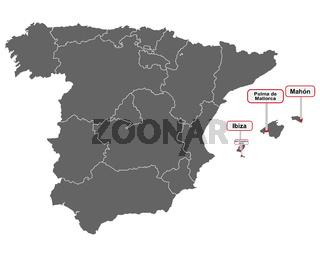 Landkarte von Spanien mit Ortsschildern auf den Balearen - Place name signs of the Balearic Islands at map of Spain
