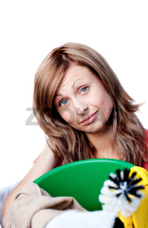 Portrait of a happy woman doing housework against a white background