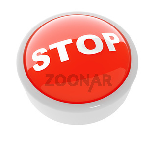 red button with a caution sign on a white background