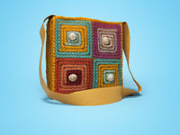 Yellow knitted shoulder bag 3d rendering on blue background with shadow