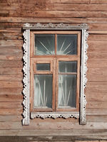 Wooden window in an old house