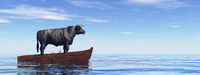 Bull standing on a wooden boat - 3D render