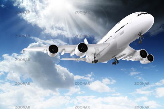 3d large passenger plane flying in the blue sky