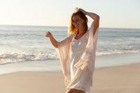 Caucasian woman spending time at beach