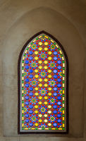 Mamluk era perforated stucco window with colorful stain glass with geometrical and floral patterns, Qalawun Complex