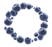 Lots of blueberries in the shape of a frame. Isolated on a white background