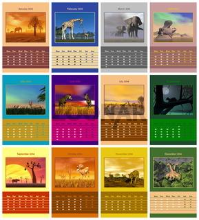 Safari calendar for 2014