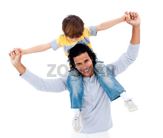 Cute little boy on his father's shoulders against a white background