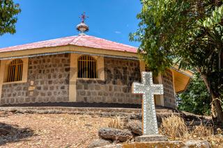 religious christian cross behind monastery on Lake Tana, Ethiopia Africa